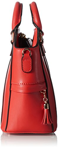 Stella Maris femmes : sac à main en cuir rouge avec diamant, sac à double porté avec deux anses, sac porté épaule, sac porté croisé, organiseur de sac amovible à l'intérieur - STMB607-01
