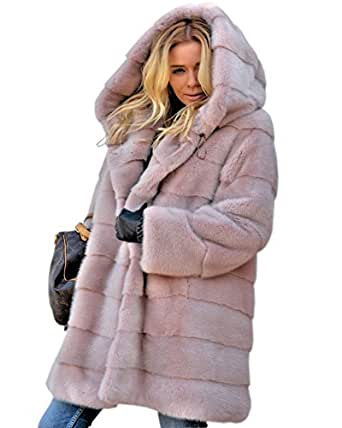 Aofur New Womens Thick Faux Fur Big Hooded Parka Long Overcat Peacoat Winter Coats Jackets at