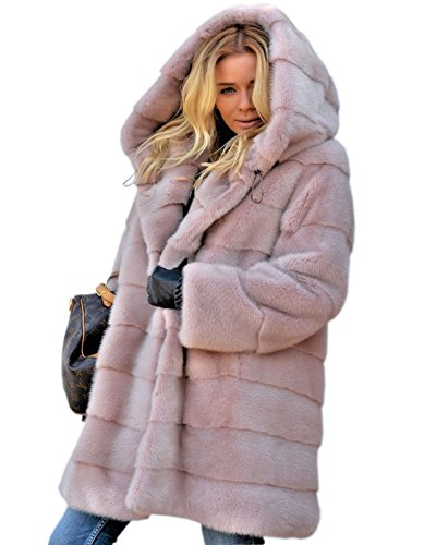 (Aofur New Womens Thick Faux Fur Big Hooded Parka Long Overcat Peacoat Winter Coats Jackets (XXX-Large, Pink))