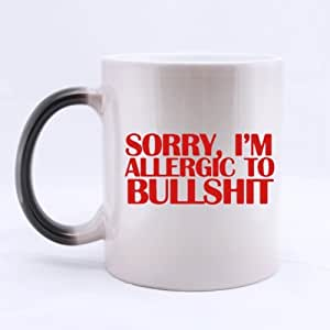 Funny SORRY,I'M ALLERGIC TO BULLSHIT Heat Sensitive Color Changing Mug Custom Ceramic Morphing Coffee/Tea Cup Mug