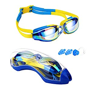 Hurdilen Kids Swim Goggles, Swim Goggles for Kids Swimming Goggles with Anti-Fog UV Protection No Leaking Coated Lens…