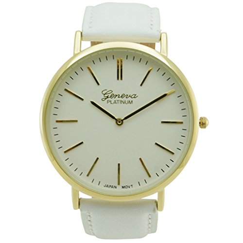 (Mens Slim Genuine White Leather Band Fashion Watch White Dial)