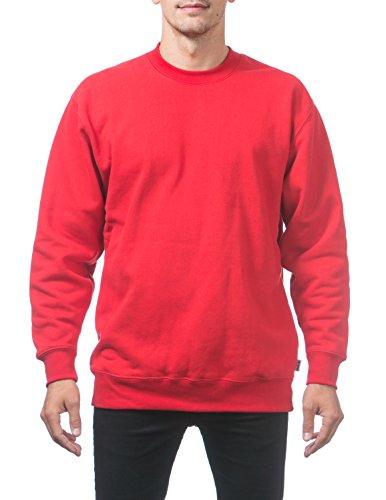 Pro Club Men's Heavyweight 13oz Crew Neck Fleece Pullover Sweatshirt, 5X-Large, Red ()