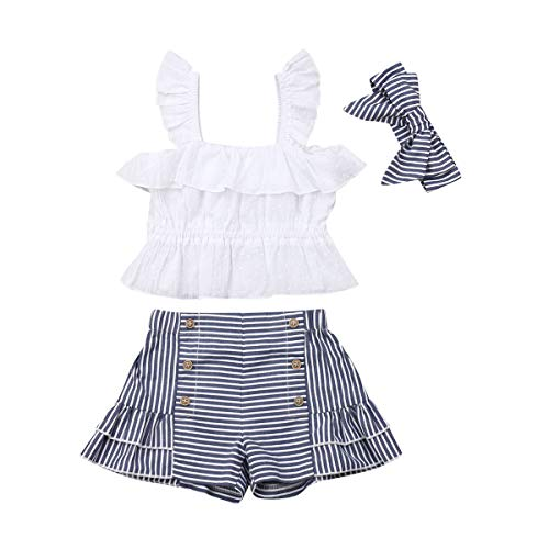3 PCS Toddler Baby Girl Clothes Crop Top Outfits Striped Ruffled Shorts Set White ()