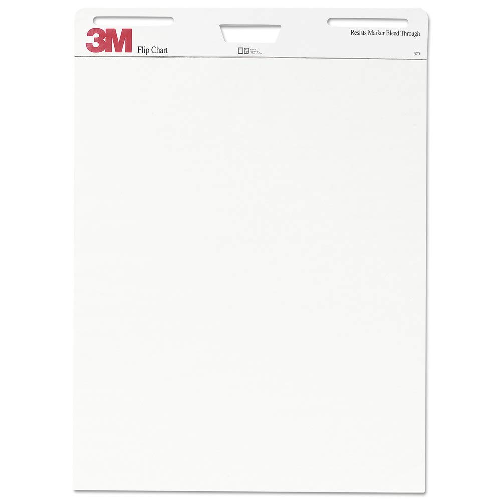 3M 570 Professional Flip Chart Pad, Unruled, 25 X 30, White, 40 Sheets, 2/carton by 3M