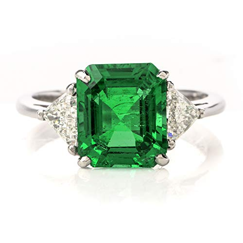 Dover Jewelry Mayors Certified 3.03CT Colombian Emerald Diamond Platinum Cocktail Ring ()