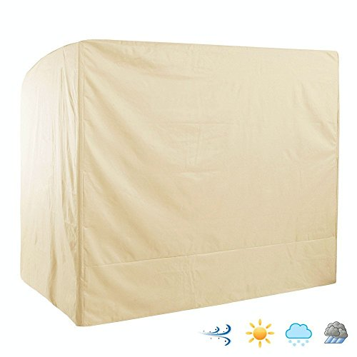 (Outdoor 3 Triple Seater Hammock Patio Swing Chair Cover, Water-Resistant, All Weather Protection, Beige Color)