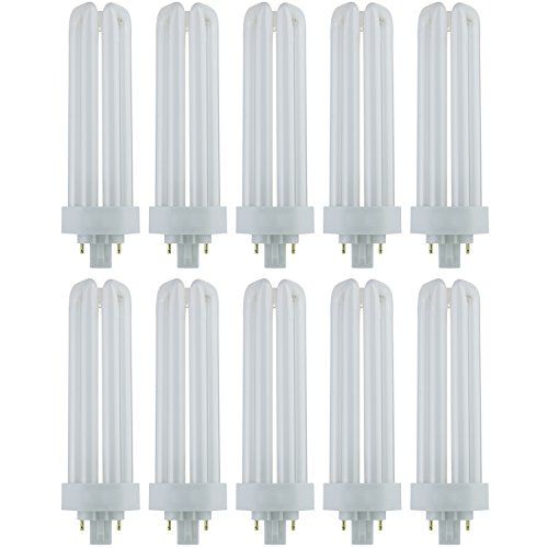 Sunlite PLT42/E/SP50K/10PK Fluorescent 42W PLD Triple U-Shaped Twin Tube CFL Bulbs, 4-Pin GX24Q-4 Base, 5000K Super White, 10 Pack, 5000K-Super ()