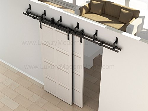 sbd BYPASS - AUSTIN - 8' feet - 98'' 2.5 m Rail BYPASS Sliding Barn Door Hardware Rustic Antique Classic Country Dark Coffee Track Rail Steel Extra Long by LuxuryModernHome (Image #9)