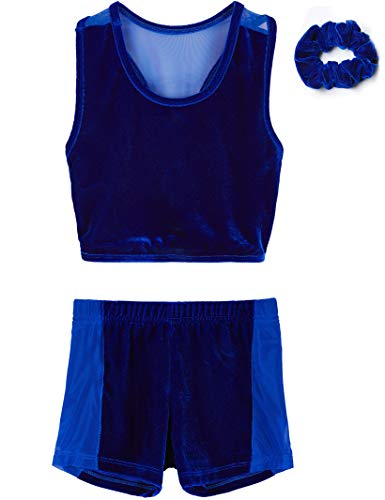 (Dance Leotard for Little Girls with2 Piece sets (Royal Blue, Age 4-6,Height 44-49