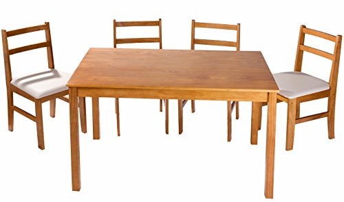 Merax soild wood 5 piece dining sets 4 person dinning for Dining room table 6 person
