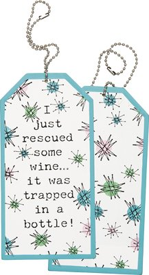 Rescued Some Wine Wood Bottle Tag, Set of 3