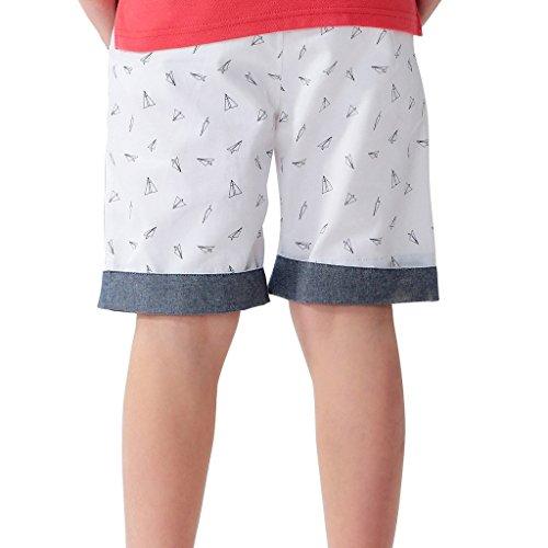 Leo&Lily Boys Husky Elastic Waist Chambray Cuff Print Chino Shorts (White, 8) by Leo&Lily (Image #1)