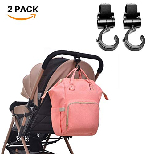 Universal Stroller Hooks to Hang Your Purse, Shopping Bags on Your Stroller, 2-Pack X-Large Hang n' Go Stroller Organizer Hook Clip for Purse Shopping & Diaper Bags Handy Pram Organizer
