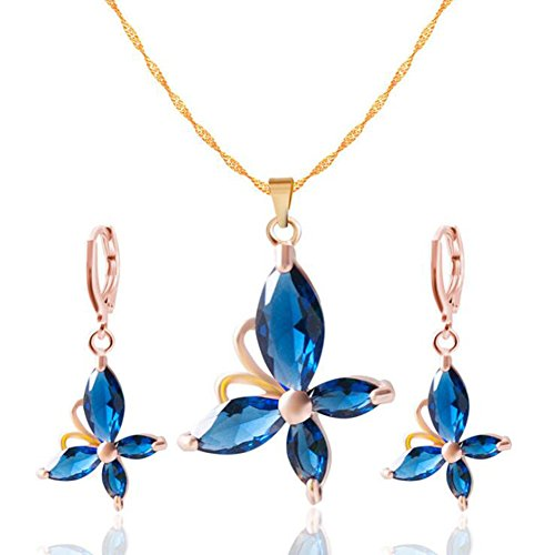 Yuhuan Women Jewelry Set Butterfly Zircon Pendant Fashion Necklace and Earrings(Blue)
