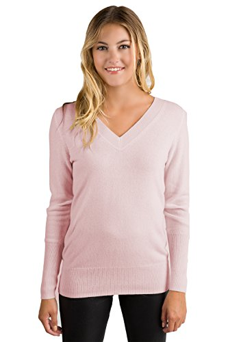 JENNIE LIU Womens 100% Cashmere Long Sleeve Ava V Neck Sweater Petal Pink Medium