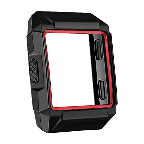 bayite Tup Case Compatible Fitbit Ionic, Rugged Protector Cover Protective Frame Shock Resistant Shell, Black/Red