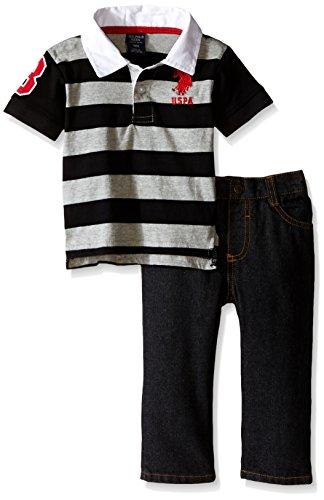 U.S. Polo Assn. Baby Boys' Striped Polo and Denim Jean Set