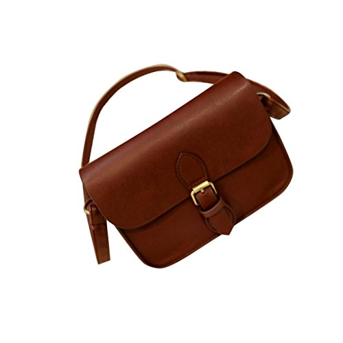 AutumnFall Women Messenger Bag Leather Crossbody Satchel Shoulder Bags Handbag Tote (Coffee)