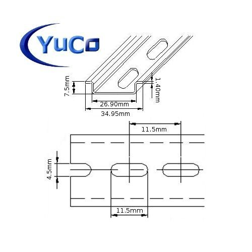 YC-DR-8 YuCo FACTORY CUT 6'' INCHES ( 6''=152.4mm ) STEEL DIN RAIL 35 X 7.5mm SLOTED PR0055 ASI
