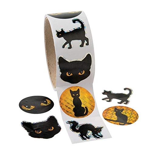 Fun Express - Black Cat Prism Roll Stickers for Halloween - Stationery - Stickers - Stickers - Roll - Halloween - 1 Piece