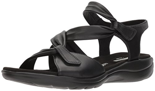 CLARKS Womens Saylie Moon Sandal, Black Leather, 7 Medium US