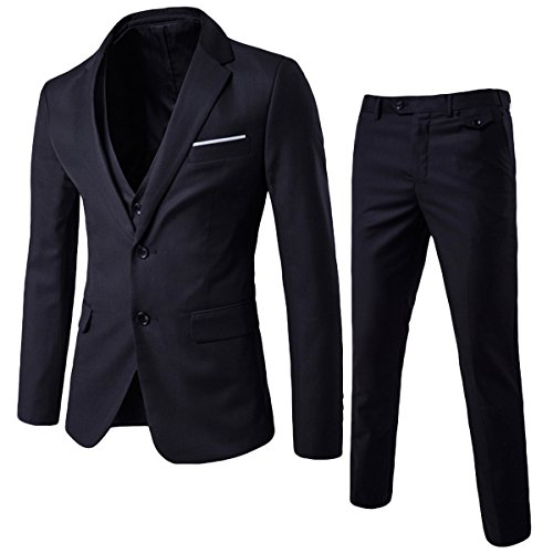 Mens Suits 3 Piece Reguler Slim Fit Wedding Tuexedo Suit for Men Business Casual Wedding Suits Jacket Blazer Waistcoat…