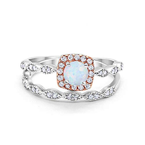 Blue Opal Wedding Set - Blue Apple Co. Art Deco Bridal Set Ring Band Halo Two Tone 925 Sterling Silver, Size-9