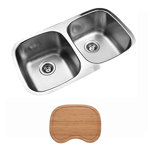Ukinox D345.50.50.9 Modern Undermount Double Bowl Stainless Steel Kitchen Sink