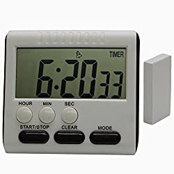 Hour Minute Second Count Up Countdown Digital Kitchen Timer, Big Digits, Loud Alarm, Magnetic Backing, Retractable Stand, White black