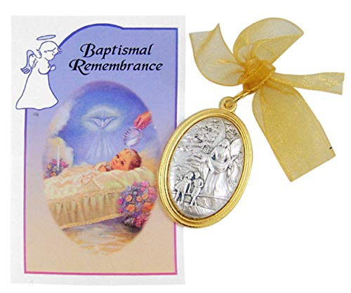 Oval Guardian Angel Crib Medal with Baptismal Remembrance Certificate Card Gift Set ()
