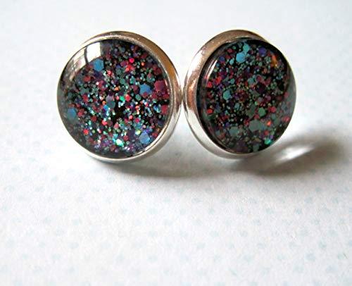 Silver-tone Blue Purple Pink Glitter Glass Stud Earrings 12mm Hand-painted