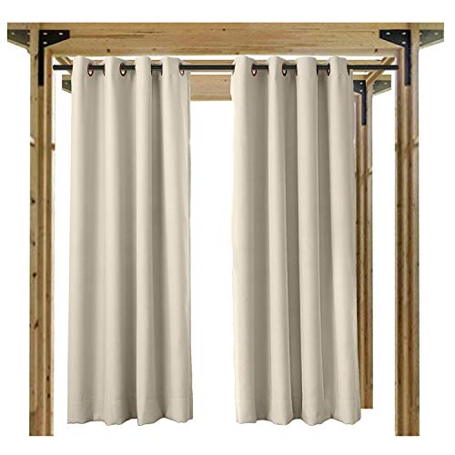 cololeaf Blackout Outdoor Curtains for Patio - Indoor Outdoor Curtains Waterproof Thermal Insulated Privacy Protect Grommet Shade Drapes for Porch - Beige 100'' Wx96 L Inch (1 panel) by cololeaf