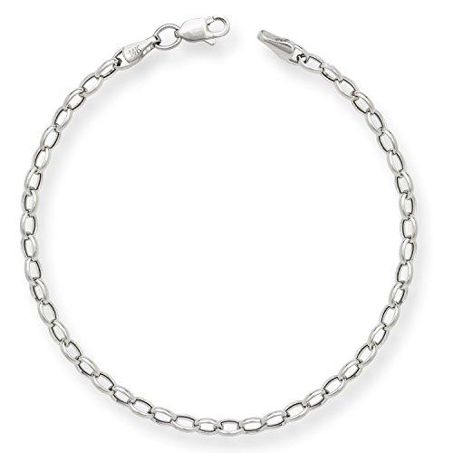 Bracelet 14k Charm Oval (Jewelryweb Solid 14k White Gold Oval 7-inch 3.5mm Rolo Charm Bracelet)