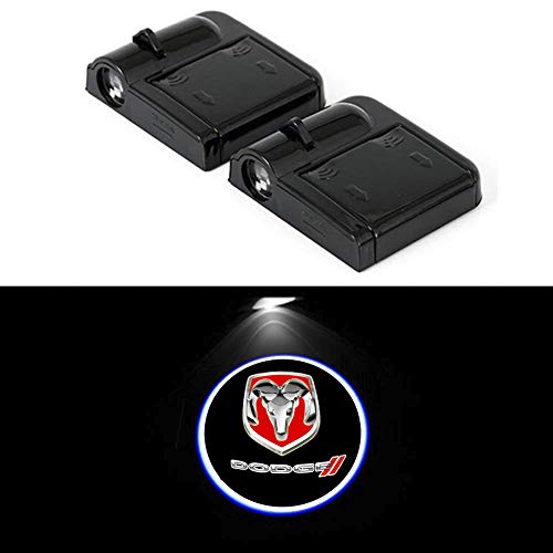 (PATRICON 2-Pack Wireless Car Door Led Welcome Light Projector for Dodge Accessory, No Drill Type Logo Light Ghost Shadow Light Lamp (Size 2))