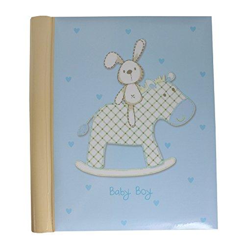 Photo Album - New Baby - Rabbit on Rocking Horse Design - Boy Self Adhesive