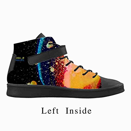 DONGMEN Colorful Rainbow Men's High Top Round Toe Lightweight Sneakers,US11