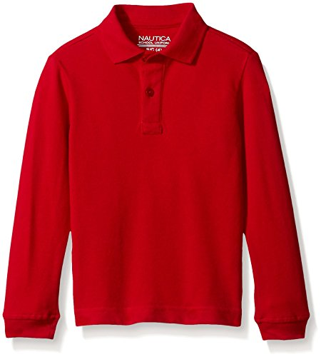 Nautica Little Boys' Uniform Long Sleeve Pique Polo, Red, Medium/5