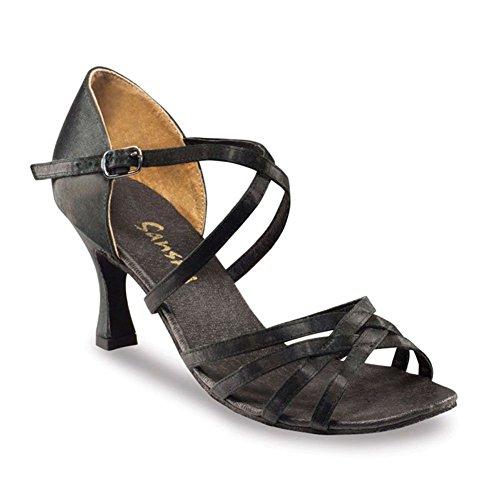 (SANSHA Adult Black Satin Criss-Cross Strap Rosa Ballroom Shoes Womens 12)