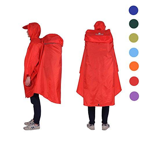 Adventure World Globotrekker Lightweight Backpack Poncho (Multiple Color Options Available) (Oxblood Red)