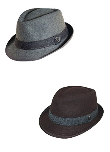 Dorfman Pacific Men's Wool Blend Fedora Hat with Herringbone Band (Pack of 2) (Fedora Hat Pacific Dorfman)