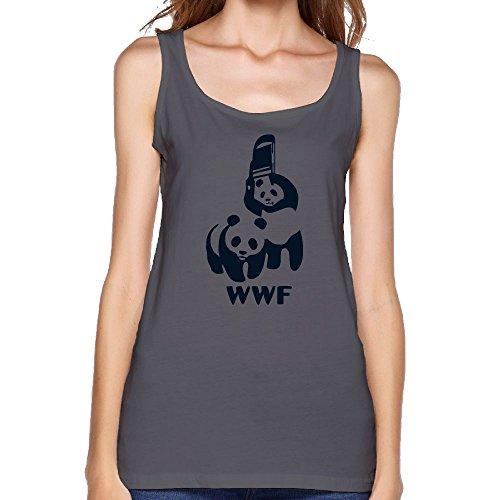 WWF Panda Bear Wrestling Women's Leisure Shirts Yoga GYM Running Tank Top by GYM TT