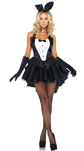 [Avide Women Tux and Tails Sexy Bunny Costume Black/White] (Bunny Suit Sexy)