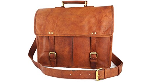 14'' Vintage Rustic Distressed Brown Leather Satchel Messenger Bag for Laptop Old School Style by Terra Negra Studio