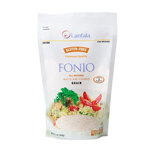 Lanfala Premium Quality, All Natural, Ancient African Super Grain, Vegan, Gluten Free, Non GMO, Precooked White Fonio 12oz