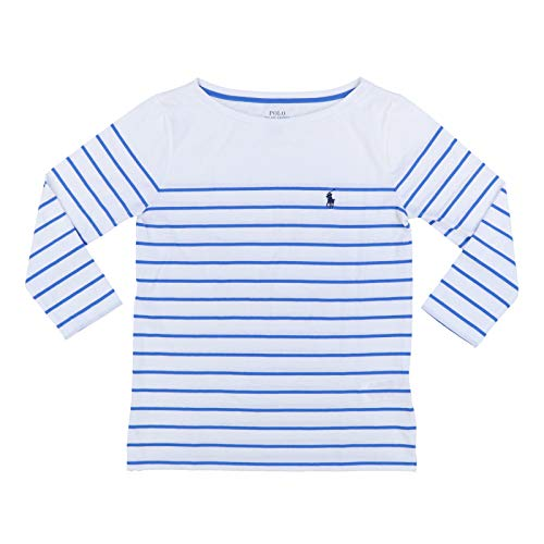Polo Ralph Lauren Womens 3/4 Sleeve Boat Neck T-Shirt (X-Small, White Light Royal Blue Stripes)