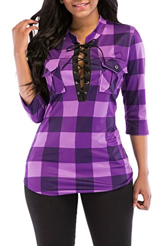 KISSMODA Women's Spring Flannel Plaid Shirt Collar Neck Long Sleeves Tops and Blouses Purple XX-Large ()