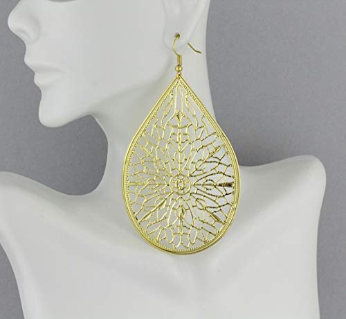 Big Huge Gold earrings lightweight filigree teardrop oval dangle 3.75 long