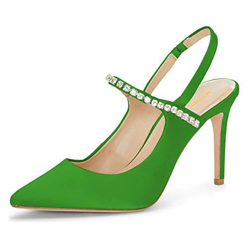 XYD Women Graceful Rhinestone Strappy Stilettos High Heel Sandals Pointy Toe Slingback Wedding Party Dress Shoes Size 12 Green ()