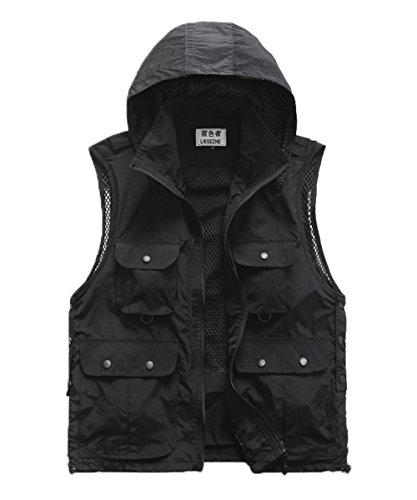 M2C Mens Hooded Mesh Multiple Pockets Traveling Vest